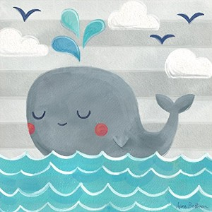 """Oopsy Daisy Fine Art for Kids Let 's Set Sail Whaleキャンバス壁アートby Anne Bollman 10 x 10"""" NB21622"""