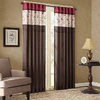 Serene Window Curtain Red 84 Panel by Madison Park