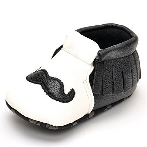 Lidiano Infant Baby Toddler PU Leather Moustache Print Soft Sole Tassels Moccasins Crib Shoe (12-18...