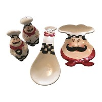 ChubbyシェフSalt and Pepper Shaker Set , Spoon Rest andプレート/ Candy Dish 3Itemバンドル