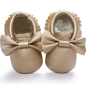 DESDEMONA Bow Tassels Soft Soled Baby Shoes PU Leather Infant Toddler Prewalker Shoes(M(5.3inches??...