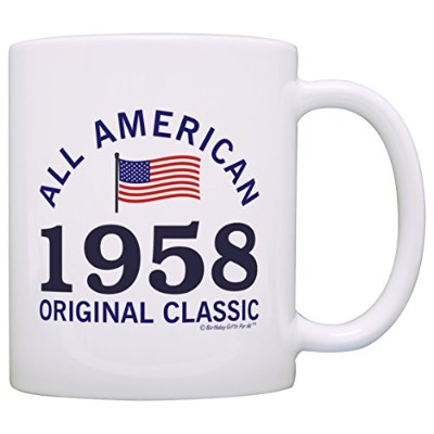60th Birthday Gifts For All 1956 All American Classic Patriotic Gift Coffee Mug Tea Cup White by...