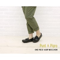 [プントピグロ]Punto Pigro ONE-PIECE VAMP MOCCASIN・NPP1122-0341101 35(22.5cm) BLACK