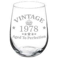 ワイングラスゴブレット40th Birthday Vintage Aged to Perfection 1977 17 oz Stemless