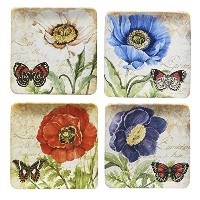 Certified International Poppy Gardenサラダプレート8.5インチ、Set of 4 Assorted Designs