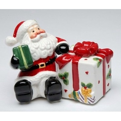 Santa Claus Sitting by Large Present Box Salt and Pepper Shakers