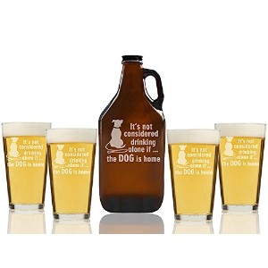 """Chloe and Madison """" It 's Not Drinking Alone場合オレンジの犬はホーム""""ビールGrowler & Pint Glasses、5のセット"""