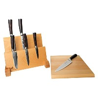 Zhen Japaneseダマスカスvg-10スチール6 Piece Cutlery Knife Set and Beech木製ナイフブロックwithカッティングボード、シルバー