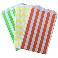 Outside the Box Papers Stripe and Chevron Treat Sacks 5.5 x 7.5 48 Pack Orange, Yellow, Lime Green,...