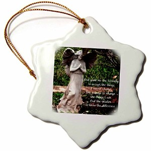 3drose WhiteoakアートデザインAngel Prints–An Angel and the Serenity Prayer Together–Ornaments 3 inch...