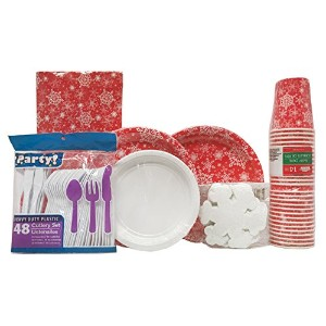"""SnowflakesレッドホワイトDinner Paper Plates bundle- 36Large 8.75""""プレート、40Small Appetizer 6.8""""プレート..."""