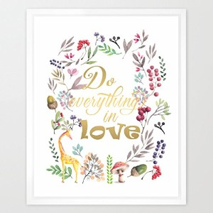 eleville 8 x 10 Do Everything In Love Realゴールド箔と花柄水彩アートプリント枠なし祝いギフトNursery Quoteキッズ壁アートMotivational...