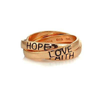 スターリングシルバーHope Faith Love Inspirational Triple Interlocking Ring