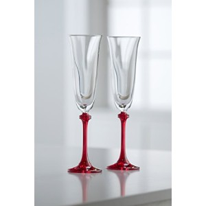 (Clear/Red) - Galway Crystal Liberty Flute (1 Pair), Clear/Red