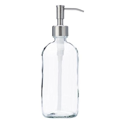 Clear Glass Jar Soap and Lotion Dispenser with Stainless Steel Pump - 470ml - by Jarmazing Products