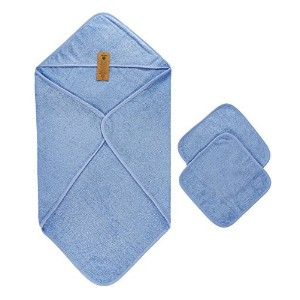 Arus Baby Organic Turkish Cotton Terry Hooded Nursery Towel Wrap Set, Blue by Arus