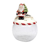 Cosmos Gifts 10637サンタツリーガラスCookie Jar withセラミック蓋、9-inch