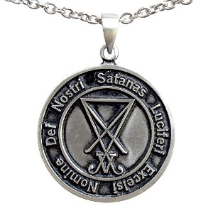 2 Sided Sigil of Lucifer Seal of Satan Luciferian Theistic Satanismピューターペンダント