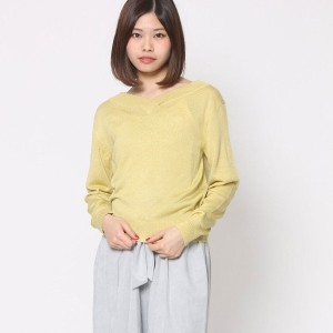 【SALE 60%OFF】ミーア プロデュースド バイ ルーミィーズ MIIA produced by Roomy's OUTLET 2WAYシンプルVネックニット (イエロー)