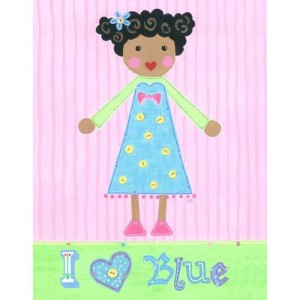 The Little Acorn Painting, I Love Blue Girl by Little Acorn