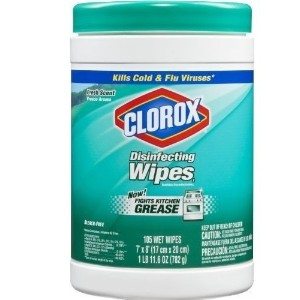 Case of four 105-count canisters, (total of 420 wipes) - Clorox Disinfecting Wipes, Fresh Scent by...