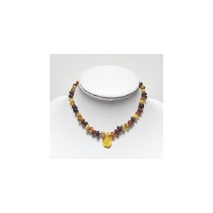 Genuine Natural Baltic Amber Baby Kids Teething Necklace Multicolour4 Baroque With Pendant By Amber...