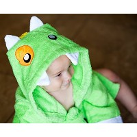 Baby Steps, The Best Green Monster Hooded Bathrobe & Towel, 0-9 Months. Great Infant Babies Bath...