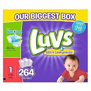 Luvs Ultra Leakguards Diapers, One Month Supply, Size 1, 264 Count by Luvs