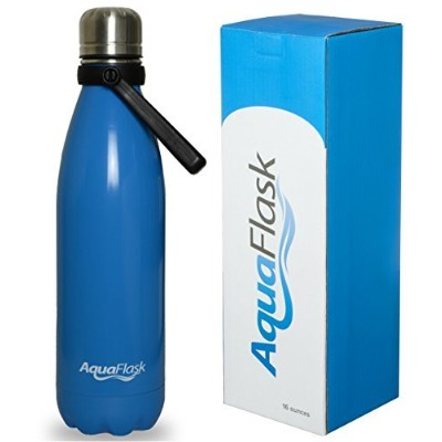 (470ml, Sky Blue) - AquaFlask Vacuum Insulated Double Wall Stainless Steel Water Bottle with Handle...