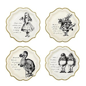 """Talking Tables Trulyアリス9"""" Alice in Wonderland Mad Hatter Party Paper Plates withゴールドトリムfor a..."""