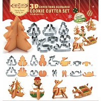 SMYLLS 3dクリスマスシナリオクッキーカッターセット、ステンレススチールBaking Molds Christmas cookie cutters