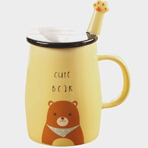AngeliceホームかわいいCoffee Mug Withクリエイティブステンレススチール猫スプーン、誕生日プレゼント/クリスマスギフト/ Exchangeギフト イエロー
