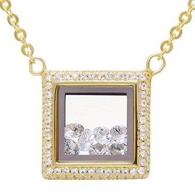 Evan Jewels、ev9–ロケット9041ファッション正方形ガラスペンダントネックレスwith Loose Crystals inスターリングシルバー