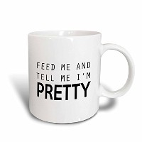 3dローズマグ_ 221125_ 8Feed Me And Tell Me I ' m Pretty 2つトーンセラミックマグ、イエロー/ホワイト