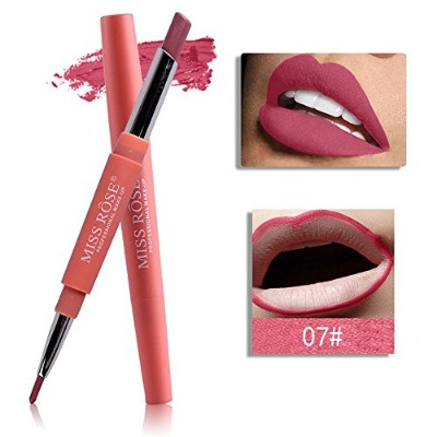 07# MISS ROSE 8 Colors 2 In 1 Lip Liner Pencil Lipstick Lip Beauty Makeup Waterproof Nude Color...