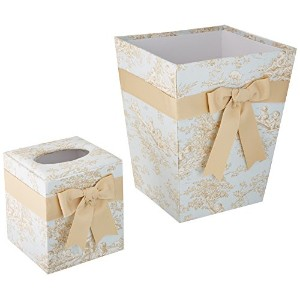 Glenna Jean Central Park Tissue Cover and Wastebasket Set, Blue/Chocolate/Tan/White by Glenna Jean