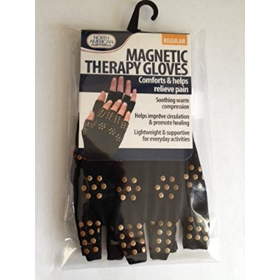 Magnetic Therapy Gloves Compression, Supports Joints Heal - Regular Size - Black by North American...