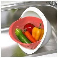 Reverse Mixing Bowl–マルチ関数Mixing Bowl with Strainer Colander オレンジ
