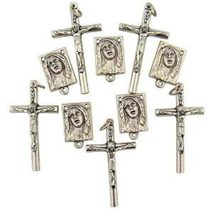 シルバートーンSorrowful Madonna Rosary Medals with Tubular Crucifixes、ロットの10、1 1 / 2インチ