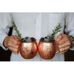 copperbartools 473ml Moscow Mule 100 % Solid Pure Copper Mugギフトセット: 2 heavy-dutyアーティザン手作り& hand...
