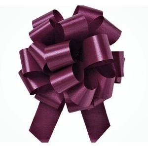 Burgundy Flora Satin 5.5 Pull Bows - 20 loops - by Premium Quality Gift Wrap Paper