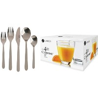 IKEA Dinnerwareバンドルfeaturing 1 IKEA Flatware Set and 1 Libbeyクロム4 Piece Clear Drinkingメガネセット