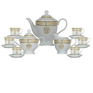Inspired by Versache Greekキー17 Piece Porcelain Tea Set Service for 6 personギフトboxed-ゴールド