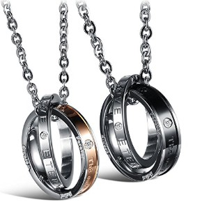 mintikジュエリーステンレススチールMen 's Womens Engraved The Only Eternal Loveバンド円hook-ups Pendentネックレス