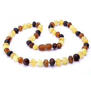 Baltic Baby Amber Necklace Rounded Beads (Raw Multi, Medium) by Momma Goose