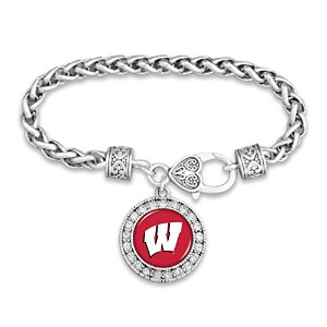 Wisconsin Badgers Clasp Bracelet with Roundチームロゴ装飾で、クリスタル