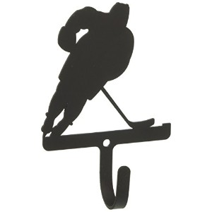 Village Wrought Iron WH-158-S Hockey Player Wall Hook Small - Black
