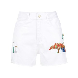 Martha Medeiros embroidered twill shorts - Branco