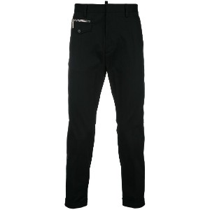 Dsquared2 tapered trousers with zip detail - ブラック