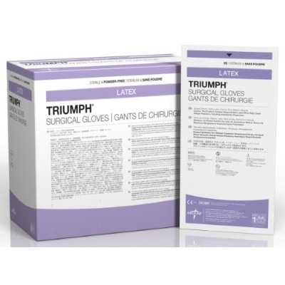 Medline MSG2265 Triumph Sterile Powder-Free Latex Surgical Glove, Size 6.5, White (Pack of 200) by...